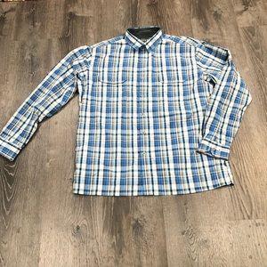 Kuhl Plaid Blue White long sleeve button up shirt